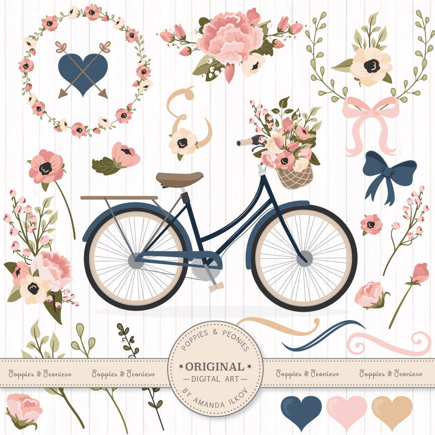 Biking clipart wedding. Premium vectors navy and