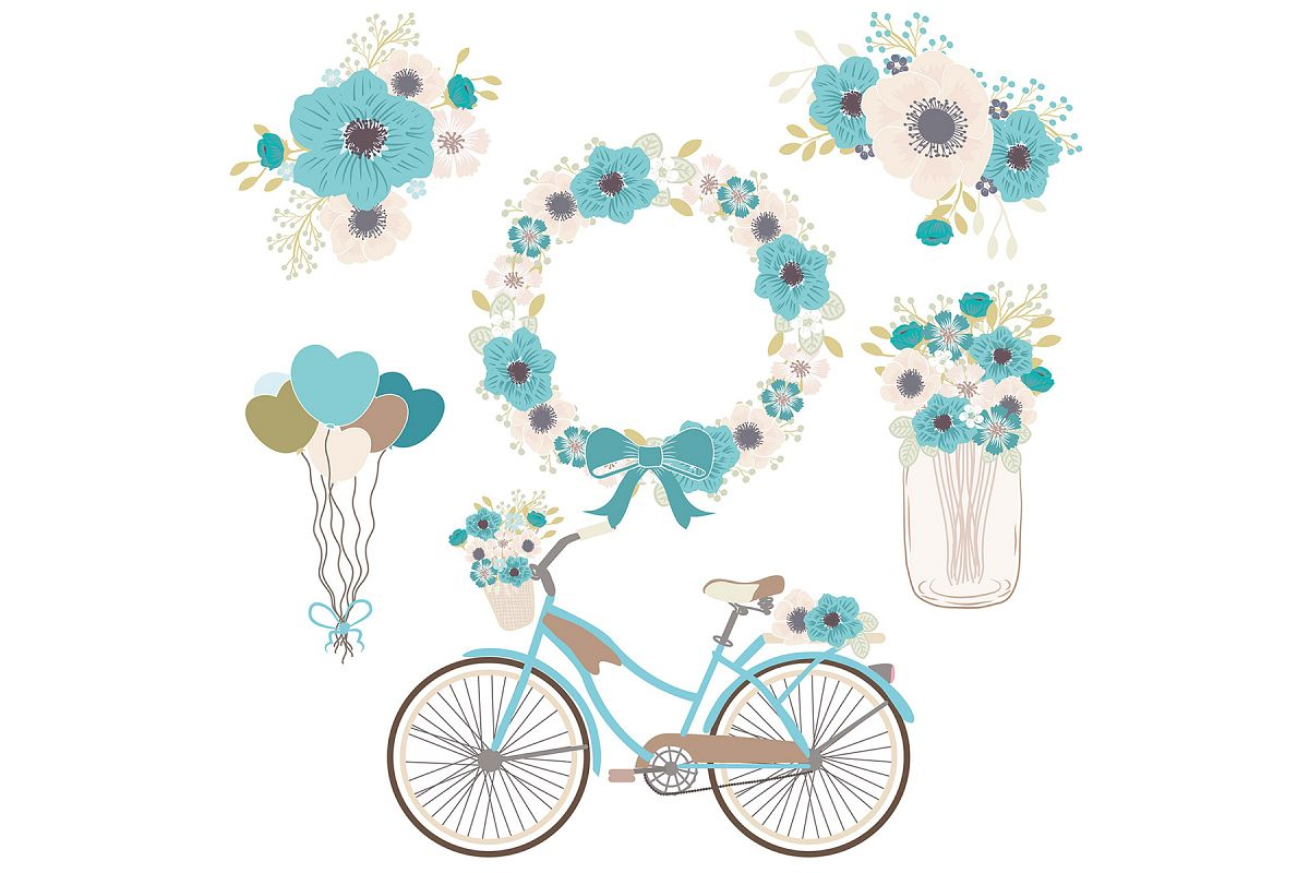 Blue floral by d. Bicycle clipart vector