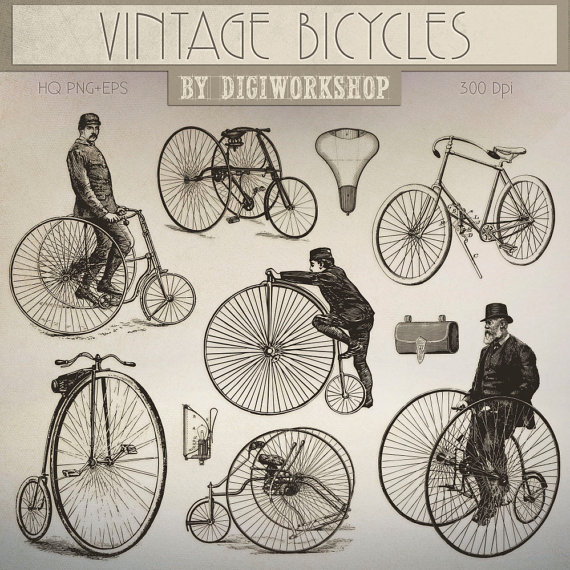 Bicycle clipart victorian. Clip art vintage bicycles