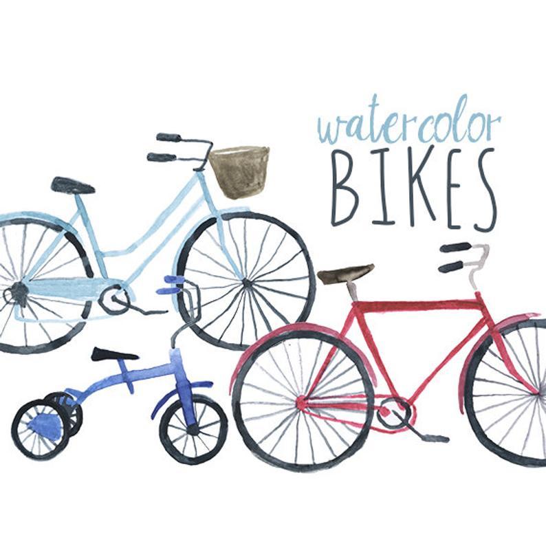 Watercolor clip art bicycle. Engagement clipart bikes