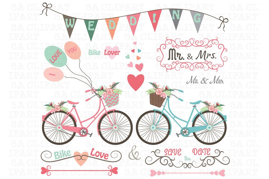 Biking clipart wedding. Bike illustrations creative market