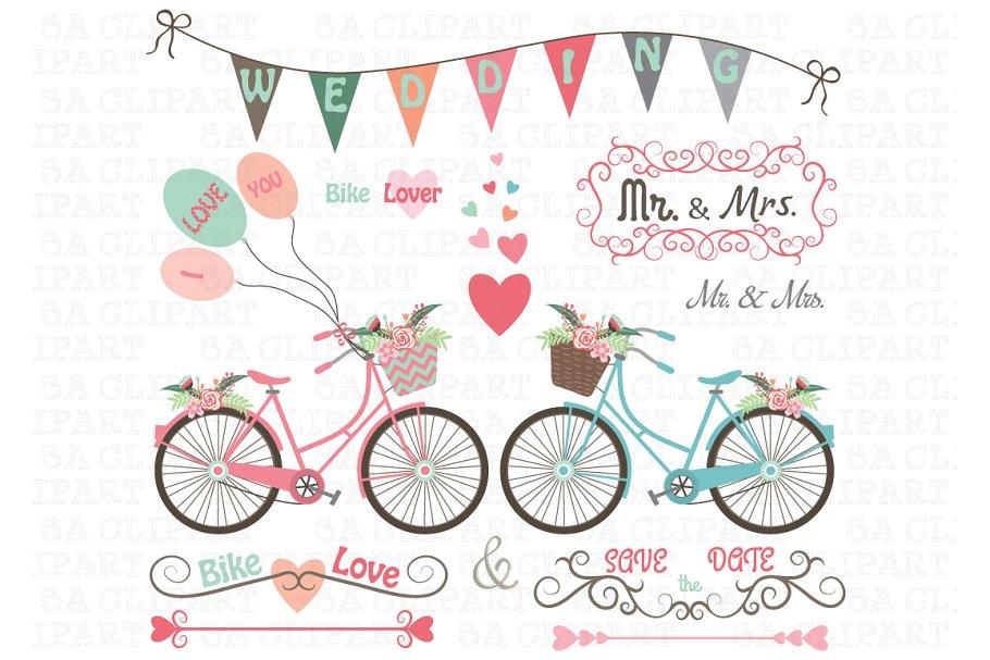 Bike illustrations creative market. Bicycle clipart wedding