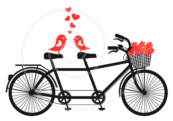 Invitation tandem with love. Bicycle clipart wedding