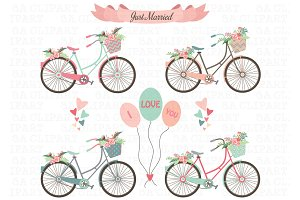 Bicycle clipart wedding. Bike photos graphics fonts