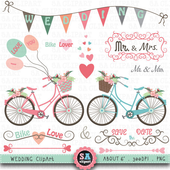 Bicycle clipart wedding. Bike clip art pack