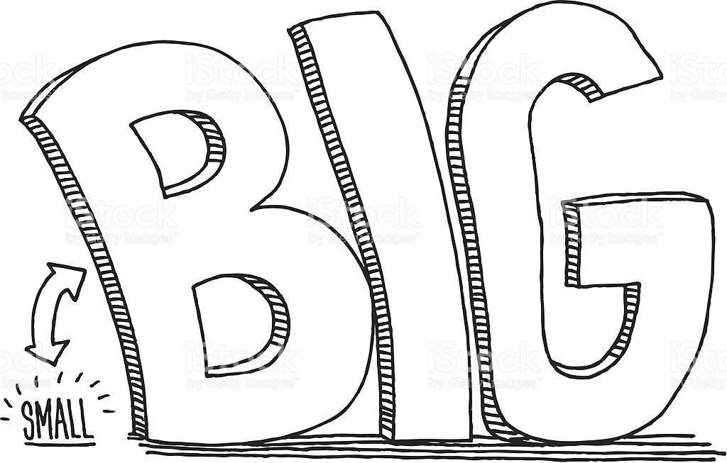 Big clipart. Larger vs pencil and