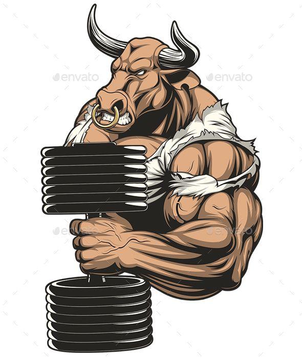 Big clipart bicep. Strong ferocious bull biggest