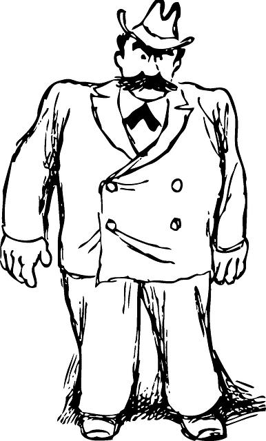 Black large outline man. Big clipart big guy