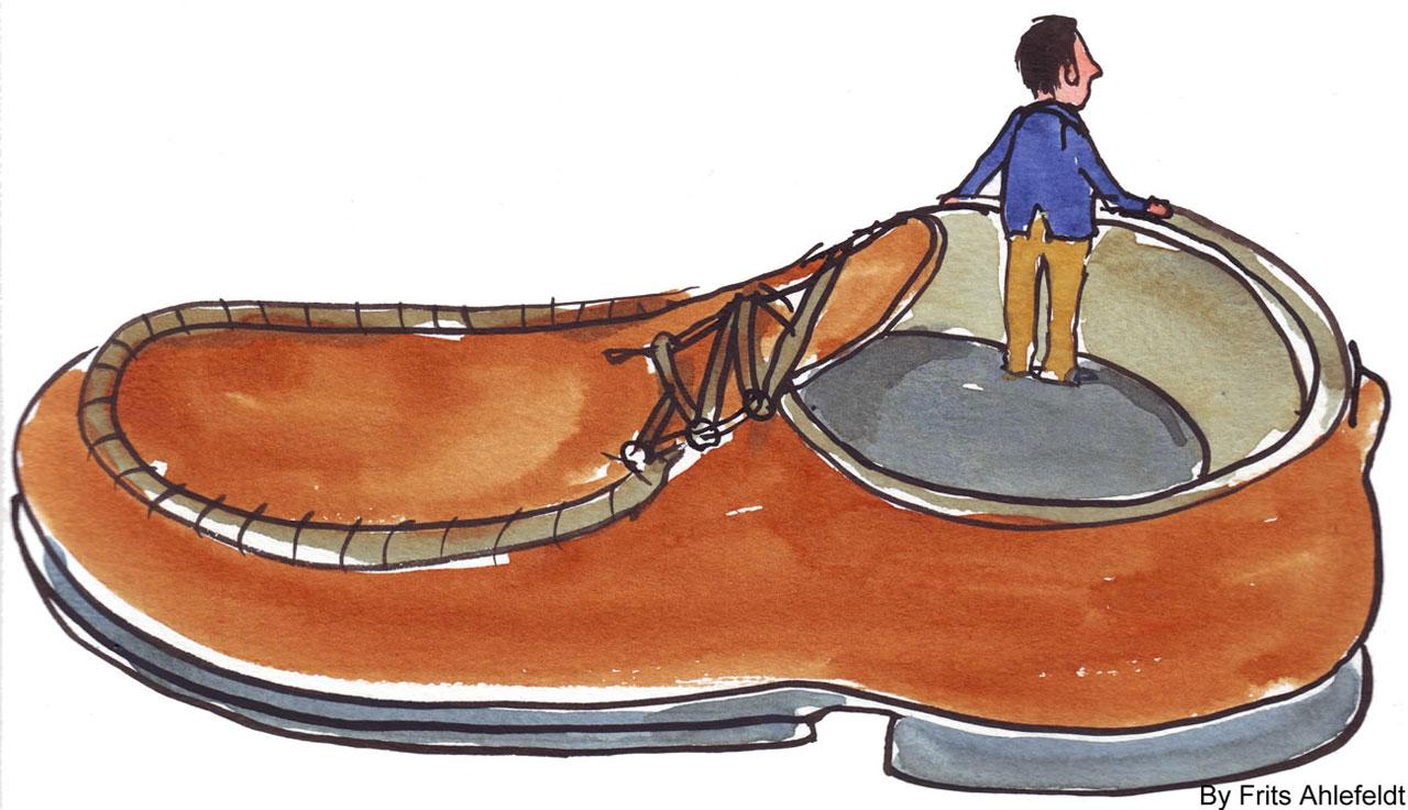 Big clipart big shoe. Small man in controlling