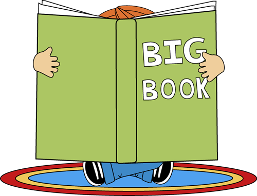 Big clipart big thing. Kid reading a book