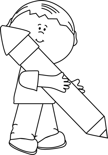 Big clipart black and white. Boy holding a pencil