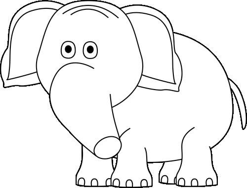 Big clipart black and white. Elephant clip art image