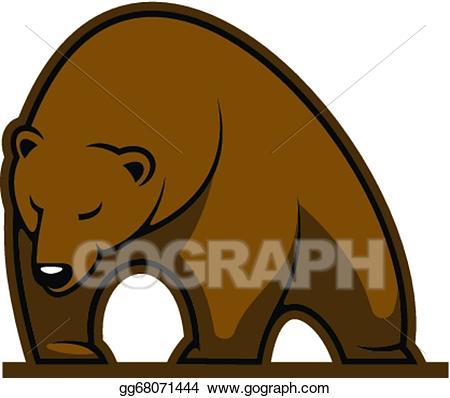 Vector stock mascot clip. Big clipart brown bear