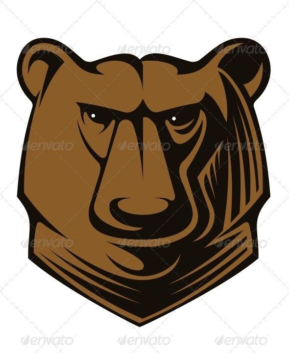 Head and bears. Big clipart brown bear