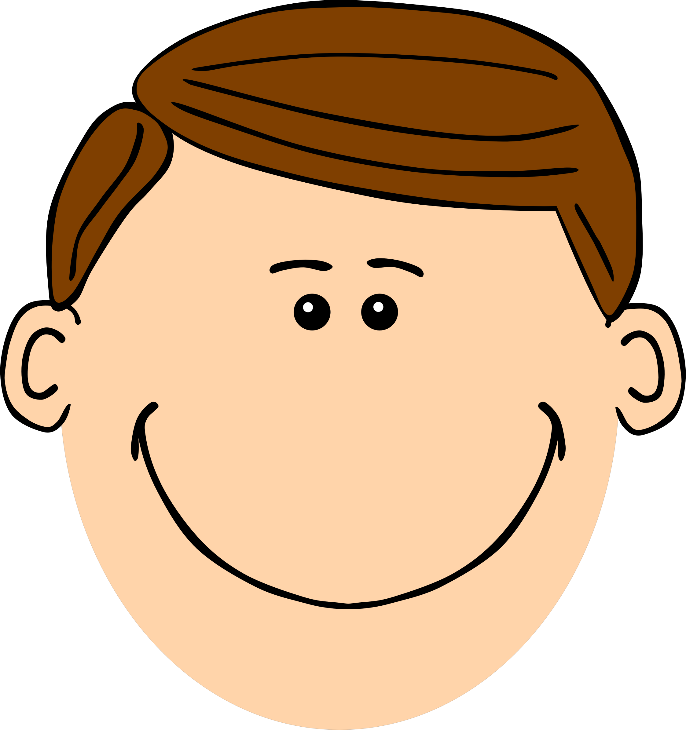 Brown haired dad big. Son clipart face to face
