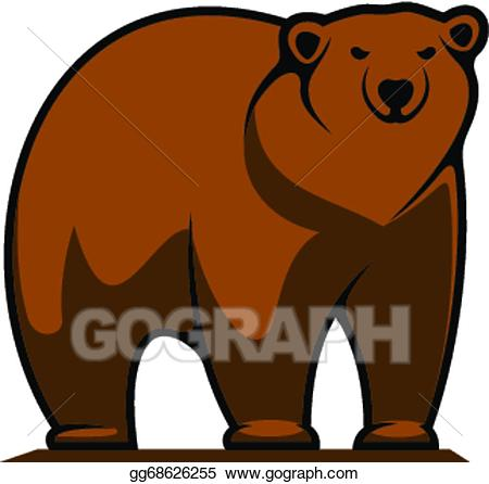 Big clipart grizzly bear. Eps vector brown or