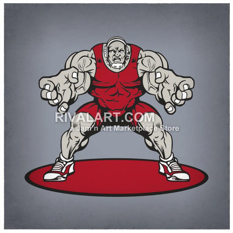 Wrestler wrestling standing muscles. Big clipart huge