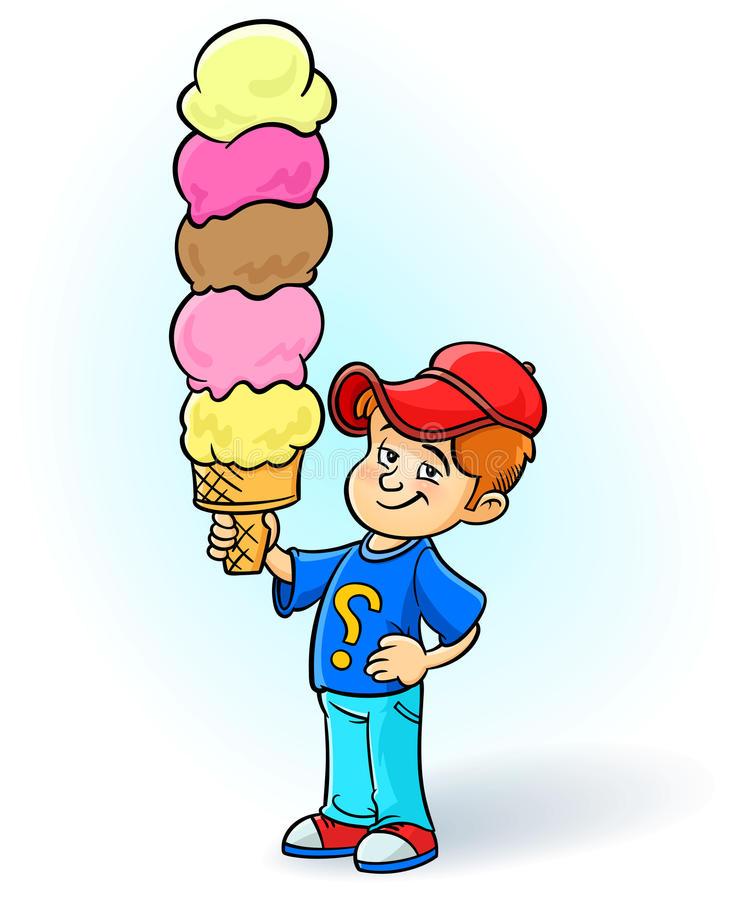 Eating ice cream happy. Big clipart kid