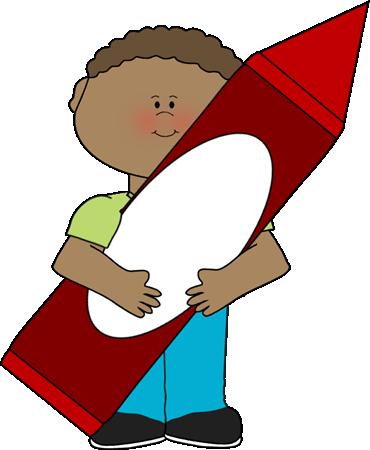 Big clipart kid. Boy holding crayon clip