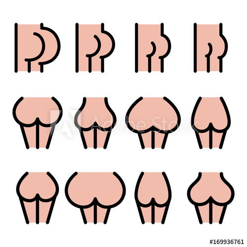Big clipart large small. Different bum sizes icons