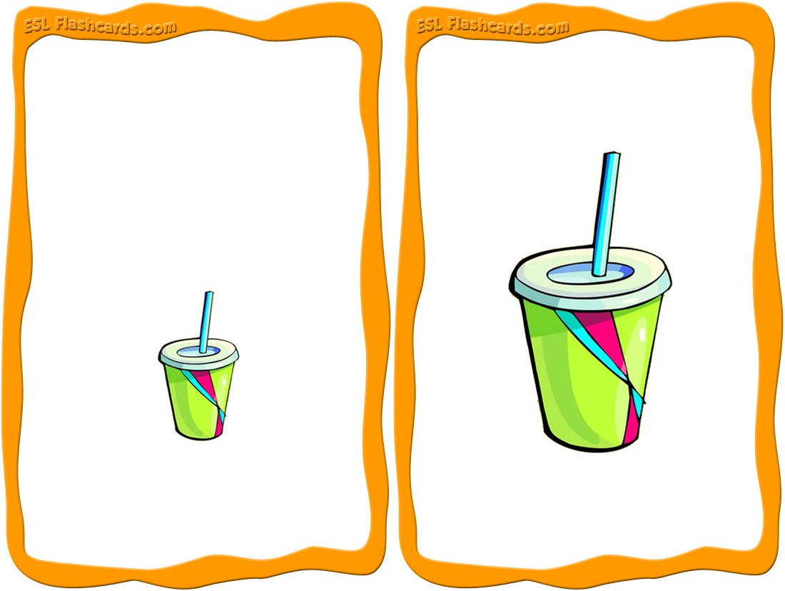 Big clipart large small. Adjective flashcards set a