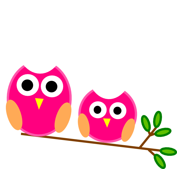 And little pink owls. Big clipart large small