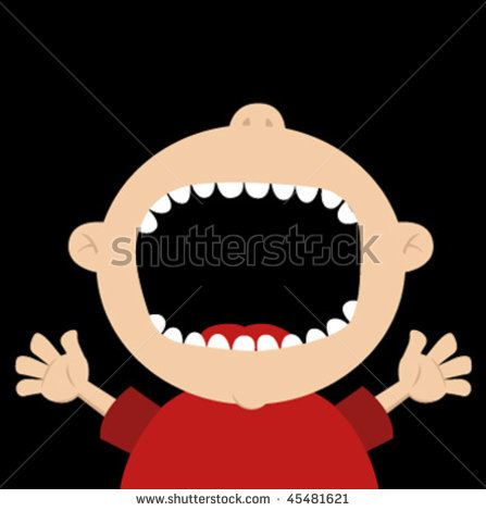 Big clipart open mouth. Child shooting stock vector