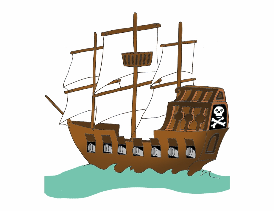 Big clipart pirate ship. With red flag png