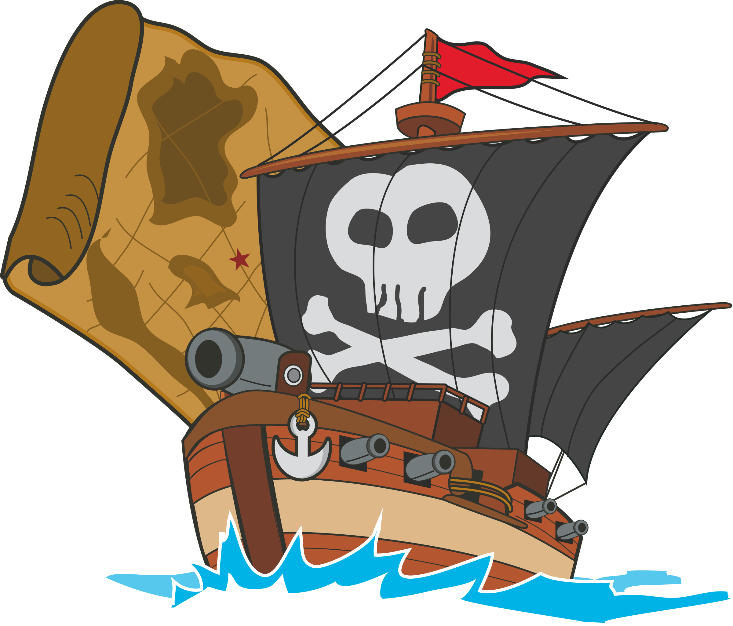 Big image png. Clipart map pirate ship