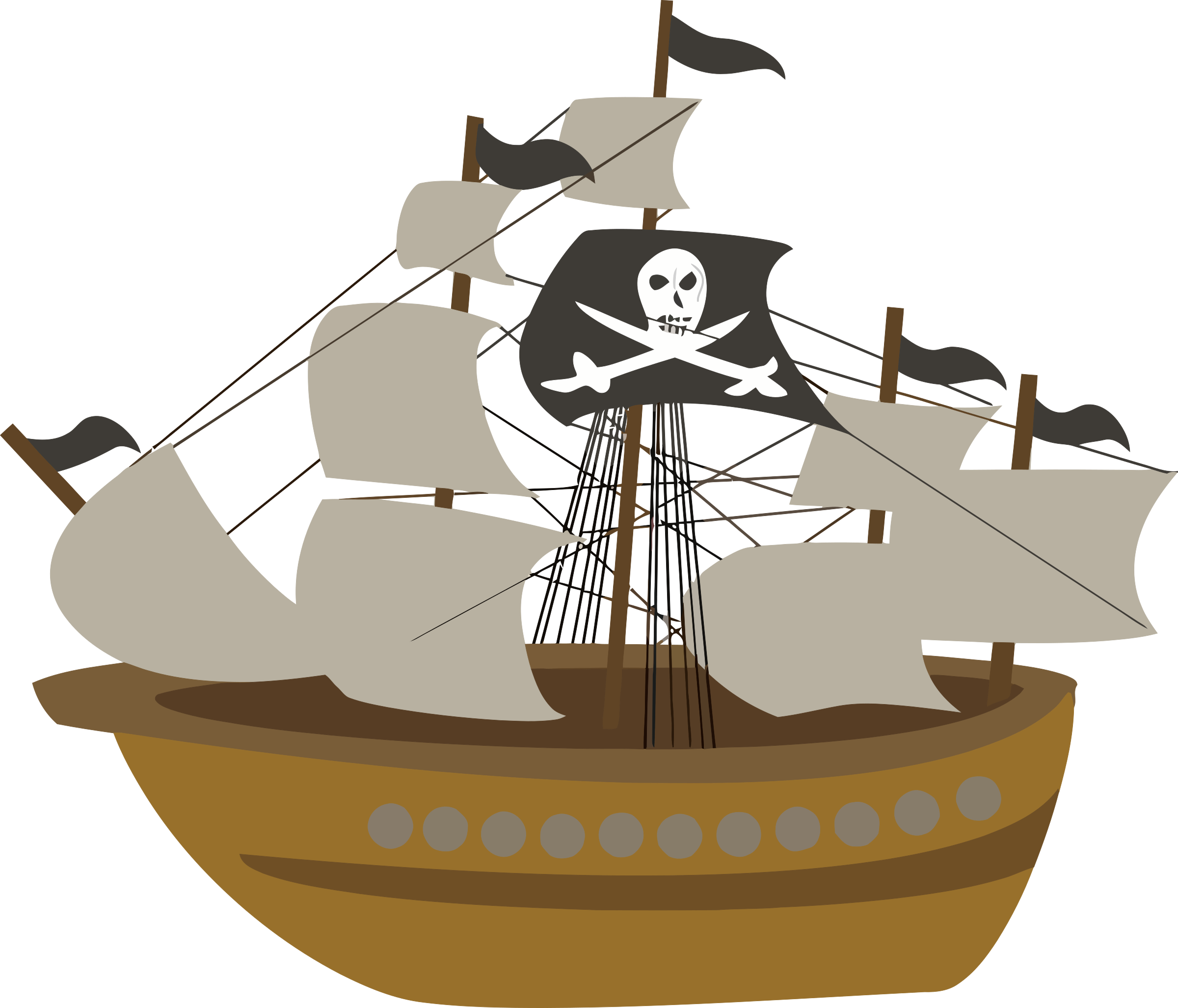 Pirate ship big image. Mayflower clipart caravels