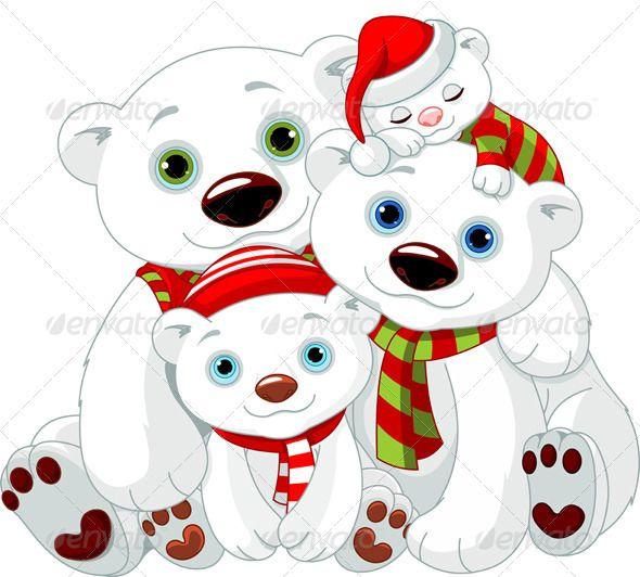 Family at christmas bears. Big clipart polar bear