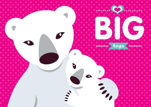 Big clipart polar bear.  love hugs greeting