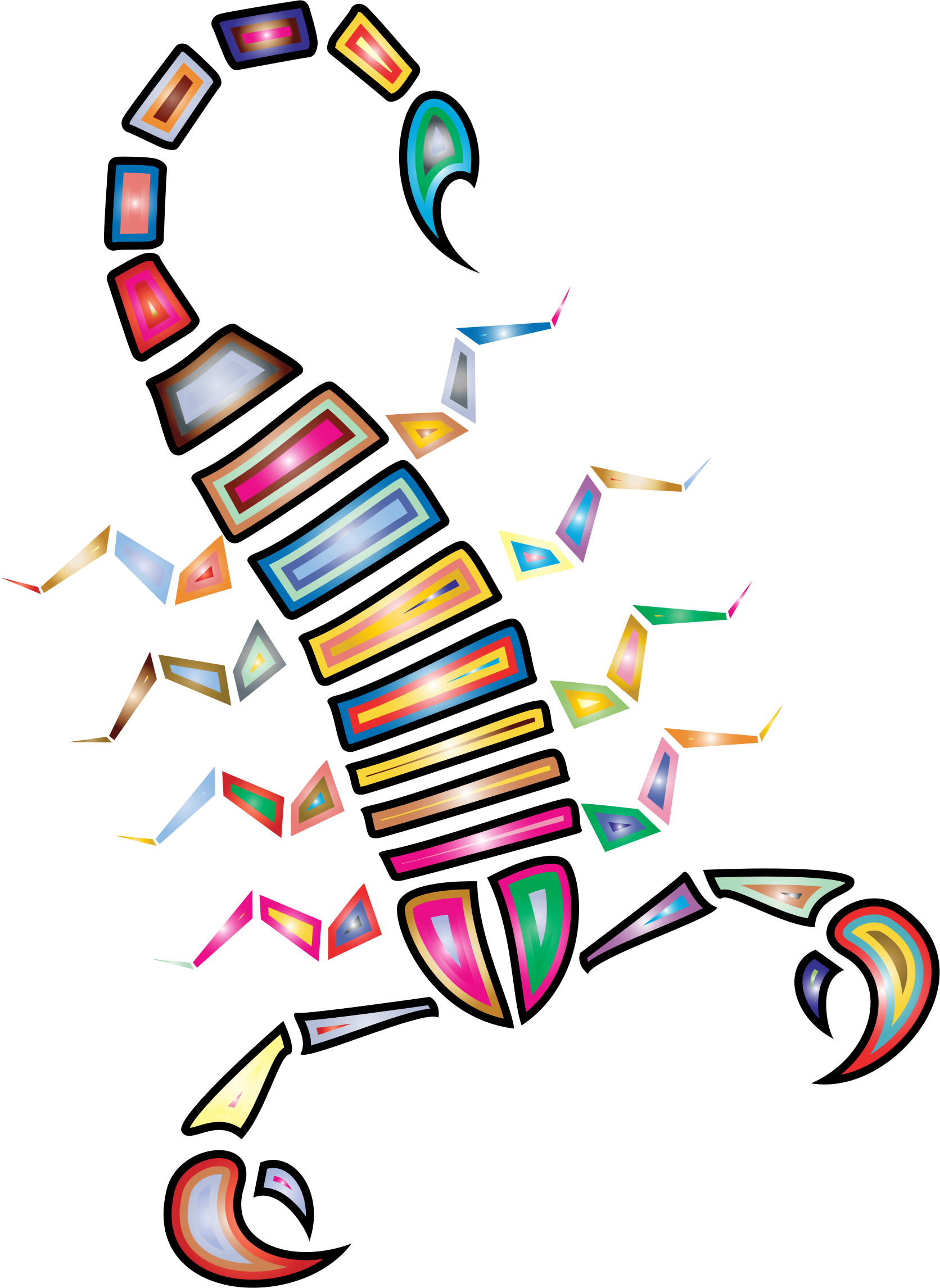 Colorful abstract scorpion big. Insects clipart tribal