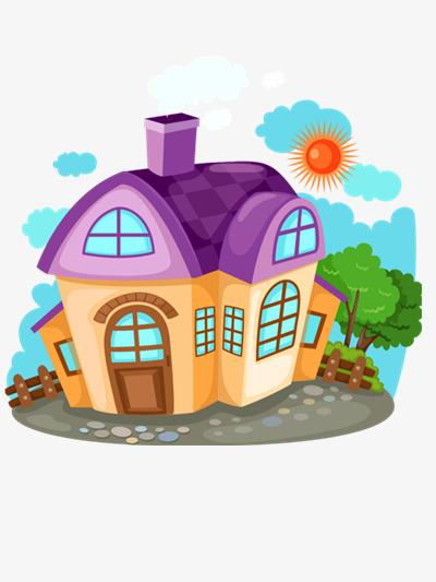 Cozy house cartoon material. Big clipart simple