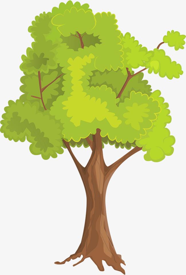 Small fresh green tree. Big clipart simple