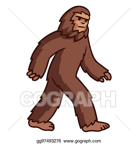 Vector illustration walking drawing. Bigfoot clipart