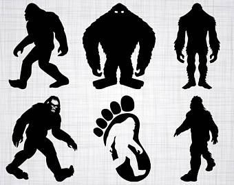 Bigfoot clipart. Silhouette etsy svg bundle