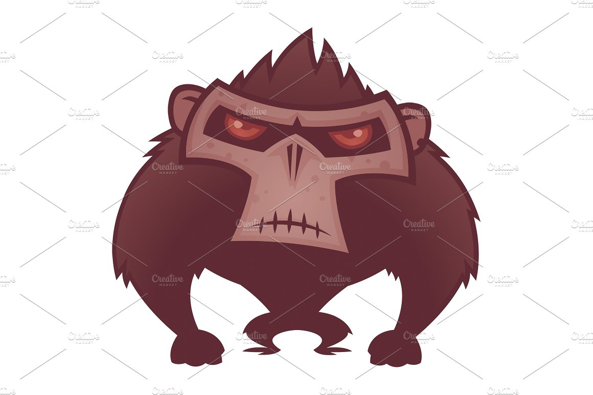 Bigfoot clipart angry ape. Illustrations creative market