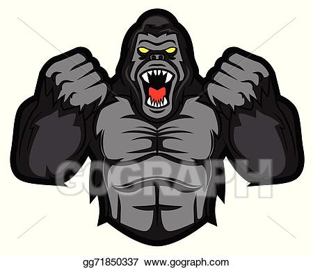 Vector stock gorilla illustration. Bigfoot clipart angry ape