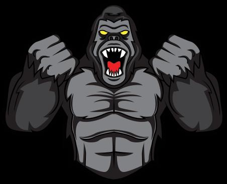 Hd gorilla logo . Bigfoot clipart angry ape