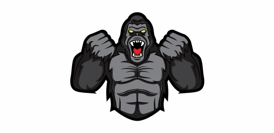 Bigfoot clipart angry ape. Gorilla logo transparent