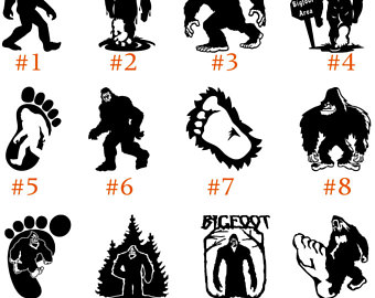 Sticker etsy vinyl decal. Bigfoot clipart black and white