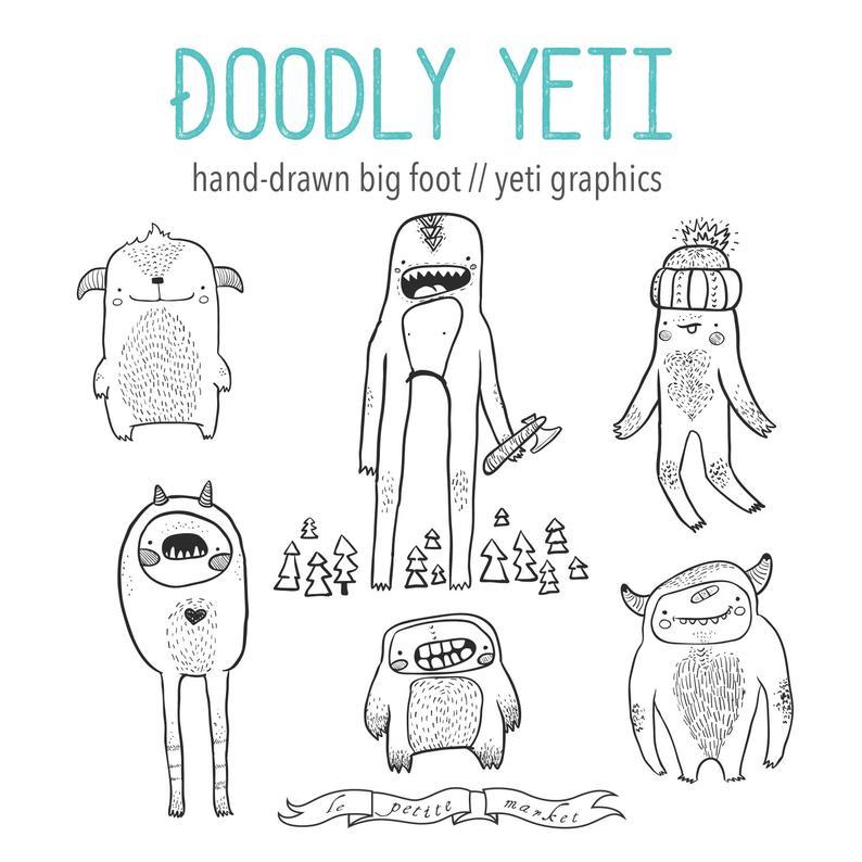 Bigfoot clipart cute. Hand drawn yeti monster