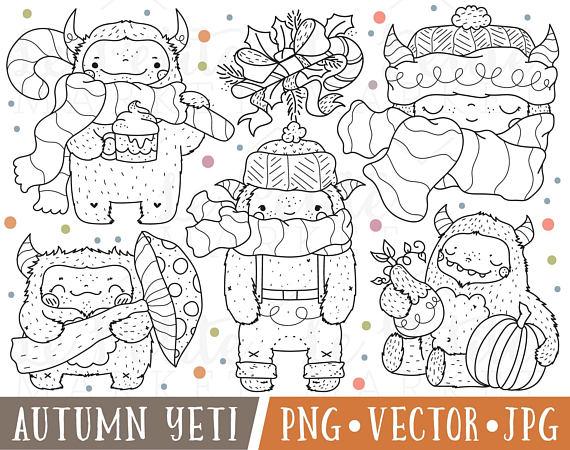 Autumn yeti thanksgiving digital. Bigfoot clipart cute