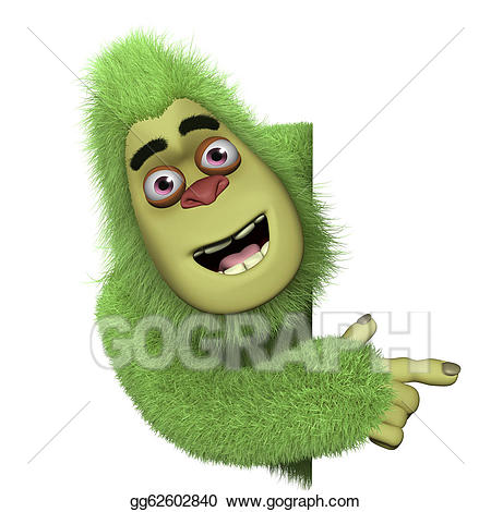 Bigfoot clipart cute. Stock illustration green gg