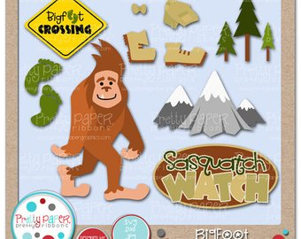 Party etsy cutting files. Bigfoot clipart happy