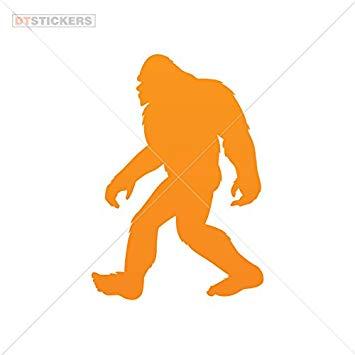 Vinyl sticker decal sasquatch. Bigfoot clipart orange