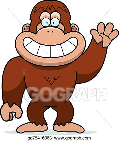 Bigfoot clipart orange. Eps vector cartoon waving