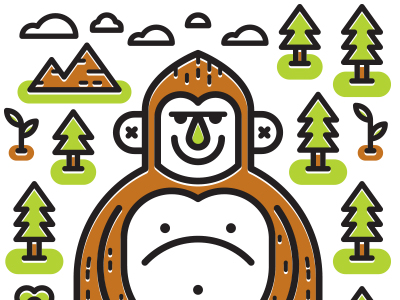 By kevin moran dribbble. Bigfoot clipart smelly