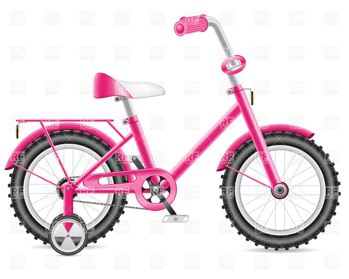 Bike clipart bicicle. Bicycle pink childs training